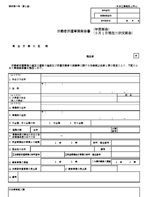 労働者派遣事業報告書サンプル